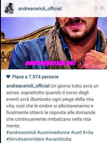 Andrea Cerioli messaggio criptico da Instagram
